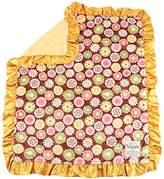 """MyBlankee My Blankee Posy Party Minky Brown w/ Minky Dot Mango Baby Blanket, 30"""" x 35"""""""