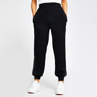 River Island Womens Petite Black satin jogger
