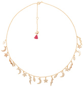 Shashi Lightning Charm Necklace in Metallic Gold.