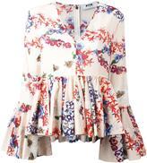 MSGM floral print ruffled blouse - women - Cotton - 42