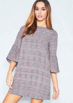 Missy Empire Missyempire Anna Grey Check Bell Sleeve Shift Dress