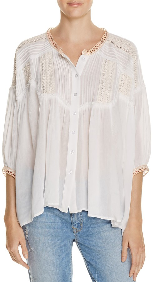 Freeway Embroidered Crochet Trim Blouse