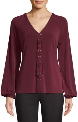 INC International Concepts Long-Sleeve Lace-Up Top