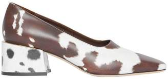 Burberry Animal Print Leather Block-heel Pumps