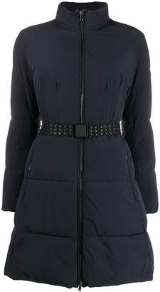 Emporio Armani belted funnel-neck padded coat