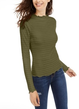 Planet Gold Juniors' Textured-Knit Mock-Neck Top