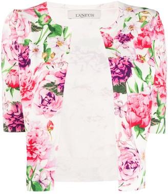 Laneus Floral Short-Sleeve Cardigan