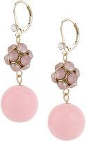 Macy's Haskell Earrings, Gold-Tone Pink Double-Bead Drop Earrings