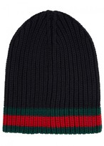 Gucci Navy Ribbed Wool Beanie