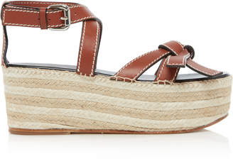 Loewe Gate Leather Espadrille Wedge Sandals