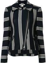 Veronica Beard striped pattern biker jacket - women - Cotton - XS