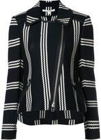 Veronica Beard striped pattern biker jacket - women - Cotton - XS