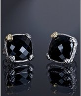 black onyx and diamond cushion stud earrings