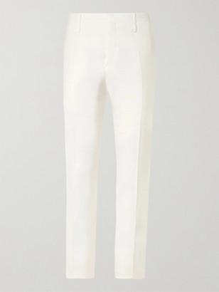 Aldomariacamillo Slim-Fit Tapered Grain De Poudre Wool Tuxedo Trousers