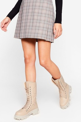 Nasty Gal Womens What's the Stitch Chunky Biker Boots - Beige - 3