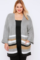 Yours Clothing Grey & Multi Stripe Boucle Longline Cardigan