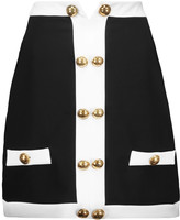 Moschino Button-embellished crepe mini skirt