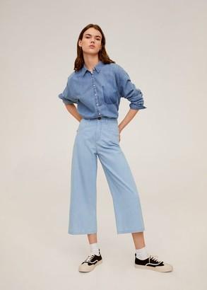 MANGO Straight cotton pants light blue - XS - Women
