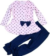 SODIAL(R) Girls Clothes Sets Bow Polka Dot Ruffle T-shirt+ Slim Pants 2pcs Full Sleeve Cotton Kids Wear 5T(130CM)