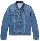 Maison Margiela Corduroy-Trimmed Distressed Denim Jacket
