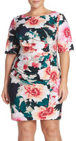 Eliza J &Exploding Floral& Print Pleat Jersey Sheath Dress (Plus Size)