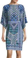Trulli 3/4-Sleeve Print Shift Dress