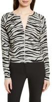 Tracy Reese Women's Zebra Stripe Cotton Zip Front Cardigan