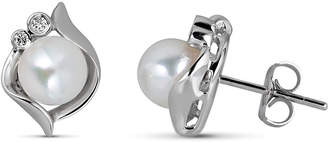 BELPEARL Elegant 14k White Gold Akoya Pearl Diamond Earrings, 7mm