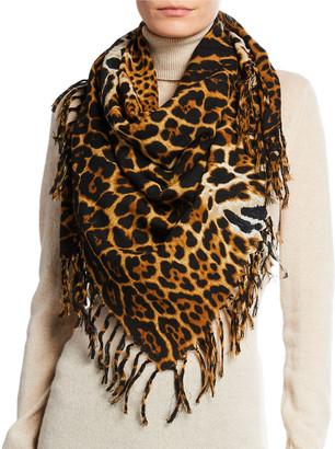 Saint Laurent Wool Toile Leopard Fringe Scarf