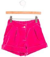 Oscar de la Renta Girls' Velvet Cuffed Shorts