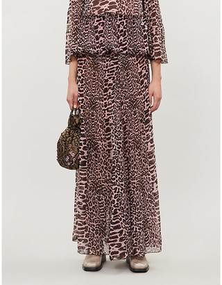 Ganni Leopard-print high-waist pleated crepe maxi skirt
