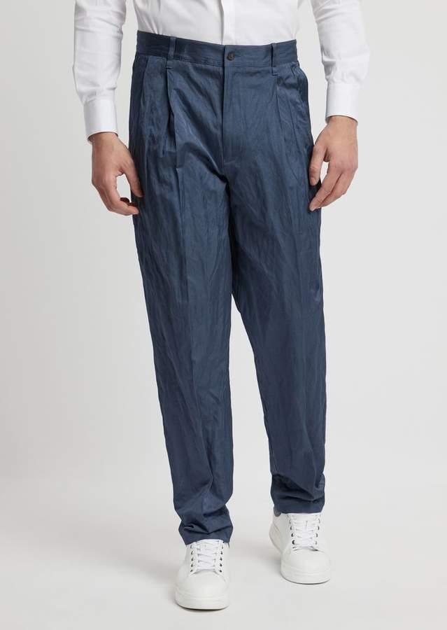 Emporio Armani Crinkle Cotton Viscose Pants With Darts