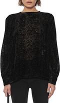 Anine Bing Debbie Animal Print Burnout Velvet Long Sleeve Silk Blend Blouse