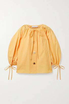 REJINA PYO Scout Tie-detailed Organic Cotton-poplin Blouse - Pastel yellow
