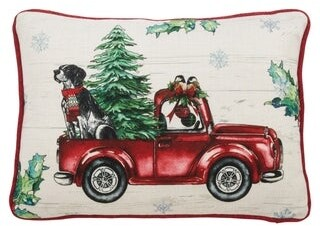 Saro Lifestyle Christmas Tree Red Truck Pillow with LED Lights