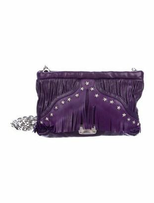 Jimmy Choo Star Embellished Fringe Crossbody Bag Purple