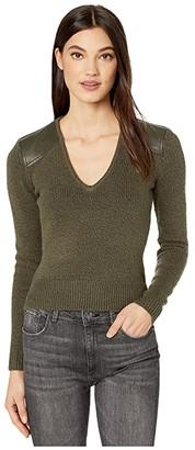 BCBGMAXAZRIA V-Neck Pullover (Black) Women's Clothing