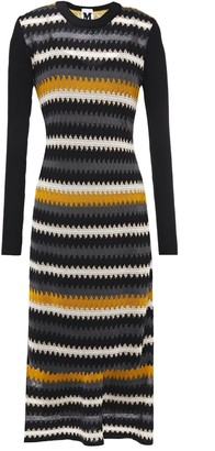 M Missoni Paneled Crochet-knit Wool-blend Midi Dress
