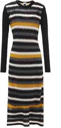 M Missoni Pointelle-trimmed Intarsia Wool-blend Midi Dress