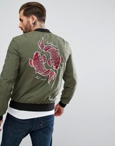 Religion Souvenir Bomber Jacket With Koi Carp Back Embroidery