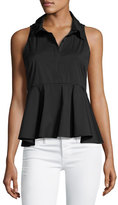 Milly Mikala Sleeveless Stretch-Poplin Peplum Top, Black
