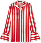 Mother of Pearl Aspen Faux Pearl-embellished Striped Silk-satin Shirt