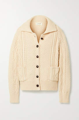 The Great The Cable Cotton-blend Cardigan - Cream