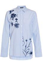 Quiz Blue Stripe Navy Embroidered Flower Shirt