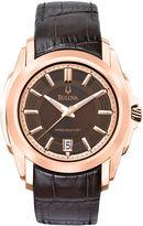 Bulova Precisionist Mens Rose-Tone Brown Leather Strap Watch