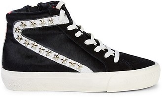 Vintage Havana Nayomi Suede Calf Hair High-Top Sneakers