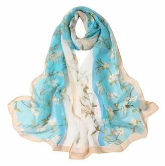 Newluk 2020 Women's Scarf 160x50cm Women Flower Print Long Soft Wrap Scarf Simulation Silk Shawl Scarves for Birthday Gift EF-593