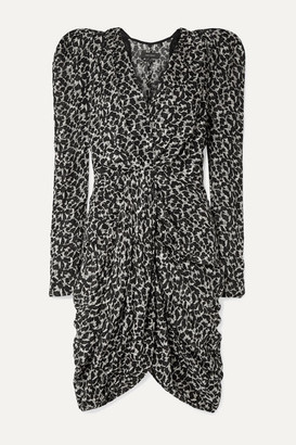 Isabel Marant Issolya Ruched Printed Fil Coupe Chiffon Dress - Black