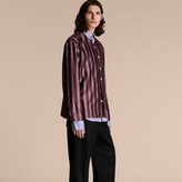 Burberry Striped Cotton Silk Collarless Shirt