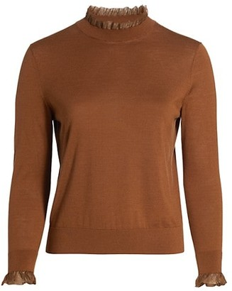 Lafayette 148 New York, Plus Size Ruffle-Trim Wool & Silk-Blend Sweater